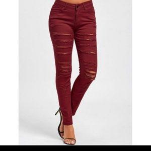 Denim - High Rise Skinny Ripped Jeans